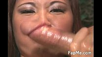 Lovely Asian girl wanking a nice dick