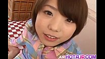 Morimoto Miku gets cock in mouth and in hairy f...