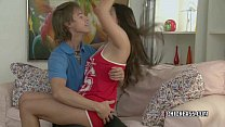 Brunette coed Elenora lets the cum drip from he...