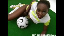 beautiful african football babe doing a striptease