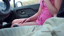 Teen hitchhiker sucking in moving car