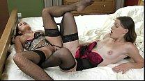 lesbians in lingerie sharing double ended dildo