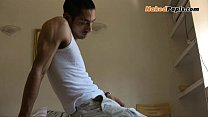 hot gay mexican men strokes his big uncut dick and plays with his tight culo.