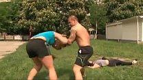 girl fitness 2 vs bodybuilder male 1 - wrestling mixed Real