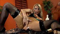 Slippery blonde fucked in fishnet thigh highs