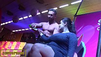 Male stripper on stage with 3 hot girls