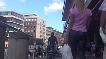 Street Candid Sexy Blond In Black Spandex Shiny Tight Leggings porn videos