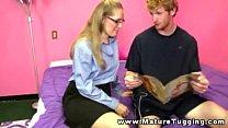 Mature handjob milf in glasses tugging