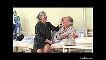 Granny watches grandpa fucks nurse in hospital