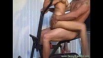 Amateur Brunette On Workout Machine