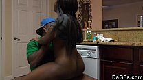 Ebony with booty ass gets fucked while she does...