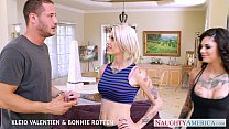 Sexy babes Kleio Valentien and Bonnie Rotten fuck in threesome