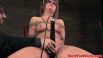 Blindfolded chair bondage with hot babe