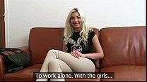 slim blonde sucks and fucks huge dick in casting