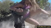 magnificent blonde bitch slammed hard at the border by patrol guy