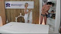 Blonde lesbian masseuse fucks brunette customer