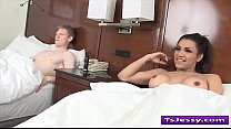 Shemale Jessy Dubai gives head and gets fucked ...