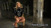 Tied blonde hottie tortured with ice and sunk i...