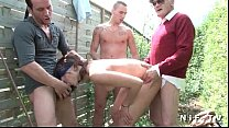 voyeur papy with outdoor foursome in fucked anal brunette french Young