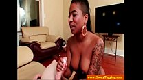 Black tattooed slut jerking