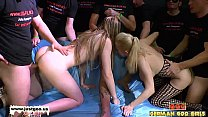 Two girls team up for some serious facial cumshots
