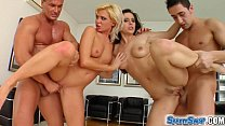 sperm swap blonde and brunette have fun with two guys