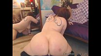 Chubby redhead rides dildo on webcam
