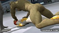 3d cartoon alien vixen getting a double teaming