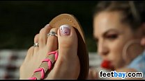 Wearing Sandals On Her Beautiful Feet Outside porn videos