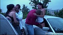 Pregnant girl and her 2 boyfriends in PUBLIC visited by other couple in car orgy