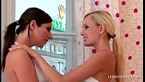 Hot lesbians pull off their tops to kiss and fo...