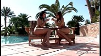Lesbians fondle and suck each others small tits...