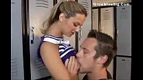 Cute cheerleader chick laid in the locker room