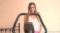 Cute Busty Blonde Exercising At Home