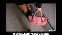Blonde girl with big-tits is picked up & paid f...