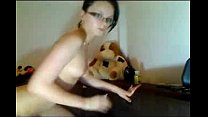 Shaved small chest glassed gf fingering on cam