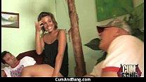 Amateur ebony interracial group sex with facial...