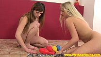 Pissing babes stuffing bowling pins in vag