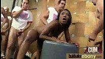 Ebony girlfriend takes huge loads of cum on her face 6