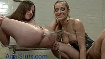 babe gets enema and squirts in femdom