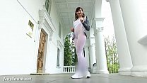 jeny smith   sporty look white pantyhose flashing