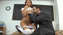Teen cutie in opaque stockings fucked on a desk