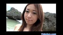 Asian Cutey Sucks Dick on Beach