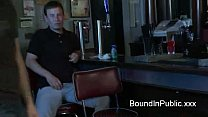 Bound gay taken in bar where gets fuck by total...