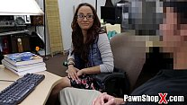 skinny amateur with glasses trades her ass for cash in pawn shop
