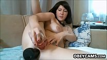 Sweet Cam Girl With A Thick Black Toy