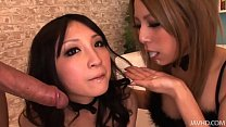 two horny japanese honies take control and share a hard cock and hot jizz