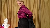 red satin blouse-