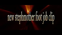 Foot job by hot blond stepmother