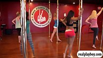Black and ebony 3some with sexy babe from pole dancing porn videos